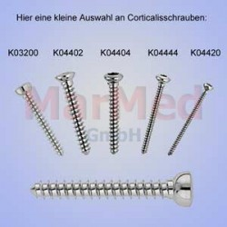Šroub kortikální, ? 2,0 x 14 mm, 1 ks, vnitřní šestihran, samořezný závit