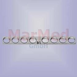 Dlaha kostní přímá s 8 otvory, délka 42 mm, pro kortikální šrouby 1,5 / 2,0 mm, šířka 5 mm, vzdálenost otvorů 5