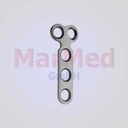 Dlaha - tvar T, 2 otvory v hlavě, 3 otvor v těle dlahy, pro kortikální šrouby ? 2,7 mm, šířka 8 mm, vzdálenost otvorů
