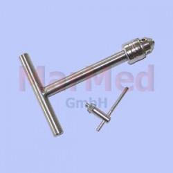 Držák ve tvaru T, podélné provrtání, se sklíčidlem do ? 6,5 mm, nerez ocel