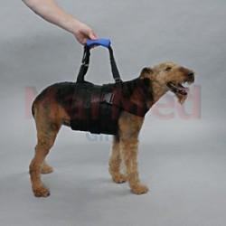 Postroj pro transport psů, velikost M, barva modrá/černá, rozměry cca 25 x 65 cm