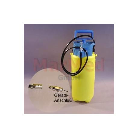 Tlaková nádoba na vodu s rychlospojkou a protikusem pro monáž na hadici odstraňovače zubního kamene