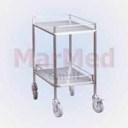 Vozík univerzální na nástroje z nerez oceli, 42,5 x 62,5 x 80 cm (šířka x hlouba x výška), 2 přihrádky, bočnice u
