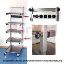 Endoskopický vozík z nerez oceli, 40 x 50 x 150 cm, 4 přihrádky s nastavitelnou výškou, 1 přihrádka pevná