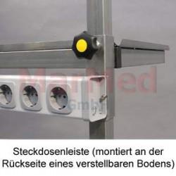 Zásuvková lišta s 5 zásuvkami a síťovým vypinačem namontovaná na endoskopický vozík