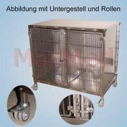 Klec pro zvířata - model 3 pro velké psy, rozměry 120 x 92 x 72 cm (šířka x výška x hloubka), celé z nerez oceli s
