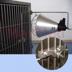 Držák na ohřívací světlo kompatibilní s klecemi MarMed, nerez ocel, upevnění šrouby na dveře klece, nastavitelná