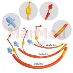 Tubus endotracheální s balónkem, velikost 3,0, s normovaným konektorem, červená pryž