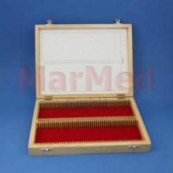 Box dřevěný na preparáty na 100 sklíček o velikosti 76 x 26 cm