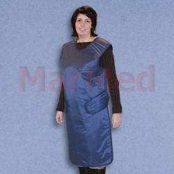 Olověná zástěra proti RTG-záření, modrá, na suchý zip, Pb 0,5 mm, 100 x 60 cm, pro výšku postavy do cca 165 cm