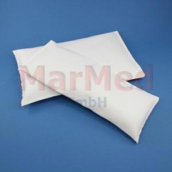 Vak s pískem pro RTG-vyšetření a operace, 15 x 25 cm, hmotnost cca 1,5 kg, povlak z bílé umělé kůže - snadná