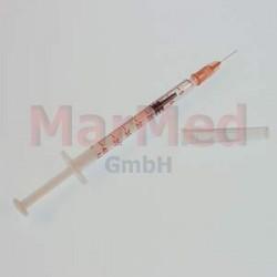 Inzulinová stříkačka s integrovanou kanylou, 1 ml, U-40, 0,33 x 13 mm (29 G x 1/2), 3-dílná, 20 x 100 ks