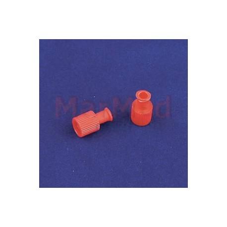 Zátka Kombi červená - bezpečnostní uzávěr bez injekčního portu, 100 ks, pro uzavření systémů Luer a Lock,