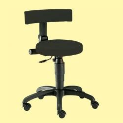 Vyšetřovací židle Ecco-Black, měkká kolečka, čalounění koženka černá, 44 až 57 cm