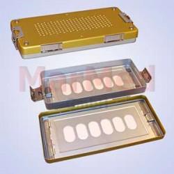 Box sterilizační, rozměry cca 30 x 14 x 4 cm, rozměry cca 30 x 14 x 4 cm, zlaté víko
