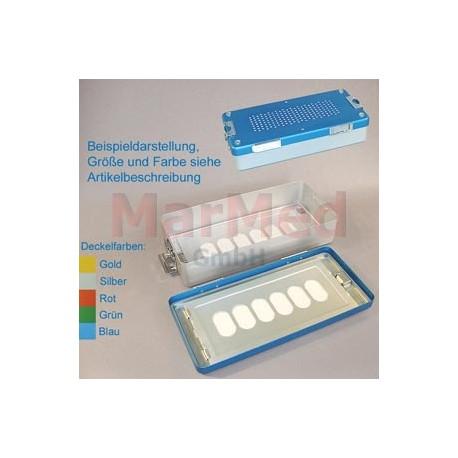 Box sterilizační, rozměry cca 30 x 14 x 4 cm, stříbrné víko