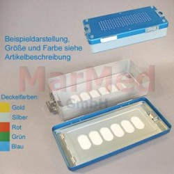 Box sterilizační, rozměry cca 30 x 14 x 7 cm, stříbrné víko
