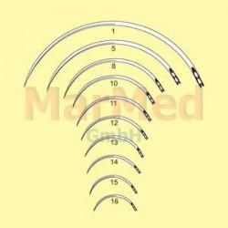 Jehly chirurgické s ouškem zahnuté, délka 18 mm (velikost 16), 3/8 kruhu, řezací, trojhranné, nerez ocel, balení po 12