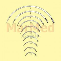 Jehly chirurgické s ouškem zahnuté, délka 36 mm (velikost 10), 3/8 kruhu, řezací, trojhranné, nerez ocel, balení po 12