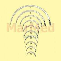 Jehly chirurgické s ouškem zahnuté, délka 28 mm (velikost 12), 1/2 kruhu, kulaté, nerez ocel, balení po 12 ks