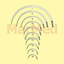 Jehly chirurgické s ouškem zahnuté, délka 36 mm (velikost 10), 1/2 kruhu, kulaté, nerez ocel, balení po 12 ks
